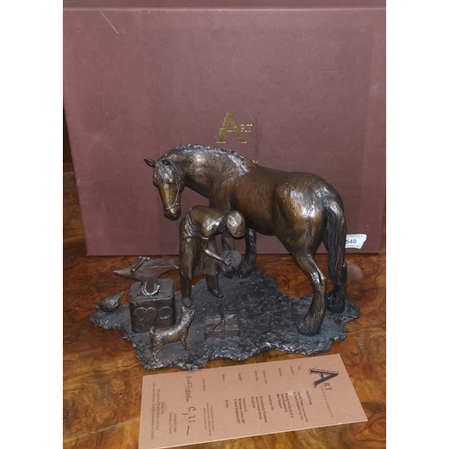 540 - After David Shepherd: Bronze sculpture of 'The Old Forge', limited edition 25 of 95, signed by David...