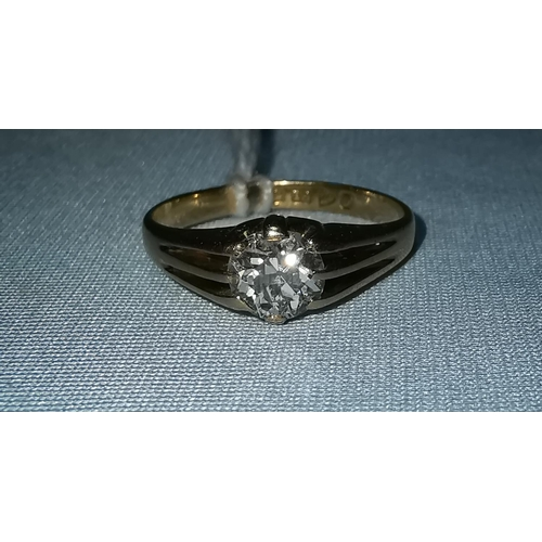 279 - An 18 carat gold ring with old European cut solitaire diamond in split shank claw setting, 0.83 ct a...