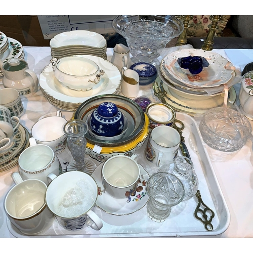 37 - A selection of commemorative and decorative china and glassware; White Crescent dinnerware; a pair o...