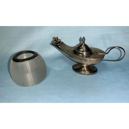 389 - A silver miniature Aladdin's lamp lighter, Birmingham 1938; a silver mounted vesta striker...
