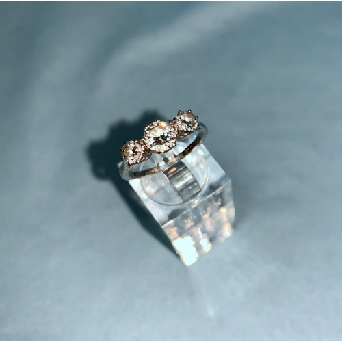 410 - A 1930's 3 stone diamond dress ring with platinum shank, total 1.2 ct approx...
