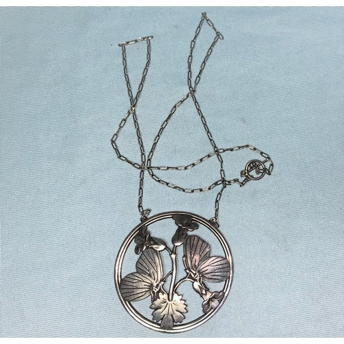 422 - Georg Jensen:  sterling silver circular necklace, pair of butterflies on flowering branch, fine rect...