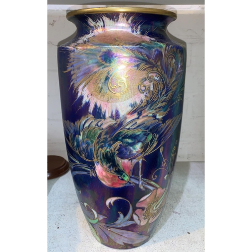 261 - Walter Slater for Shelley, a large tapering lustre vase decorated with exotic birds and flowers in p...