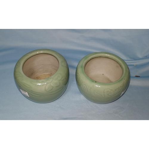 102b - A Chinese celadon glaze bowl, sgraffito decoration of birds, diameter 12 cm; another similar