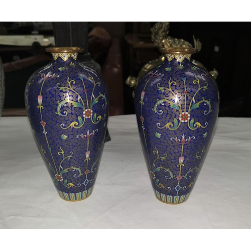 114c - A pair of Chinese 19th century blue ground cloisonnee vases, height 19cm...