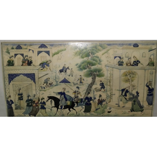 115 - A late 18th / 19th century Persian ivory plaque with highly detailed hand painted figures in traditi...