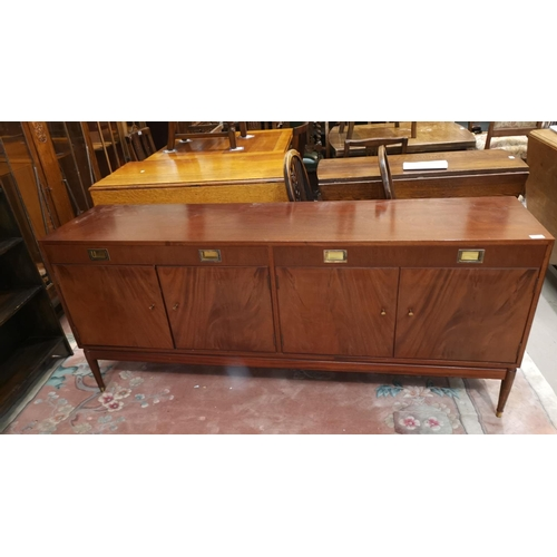 650 - A mid 20th century low line sideboard, 2 drawers and 2 cupboards, on tapering legs, length 176cm...