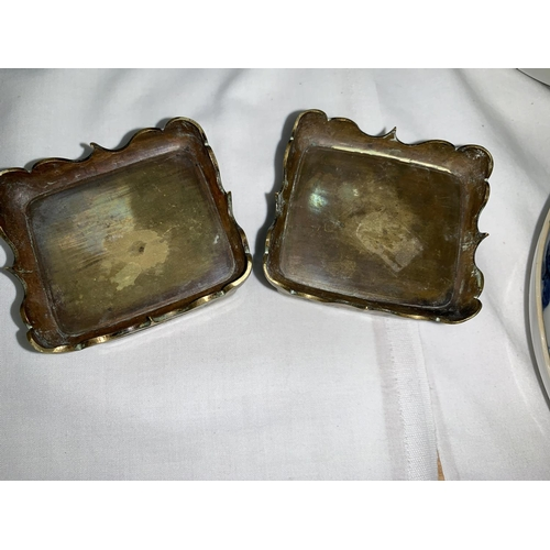 110 - A pair of Japanese Meiji period brass boxes decorated with flowers, birds etc, 7cm