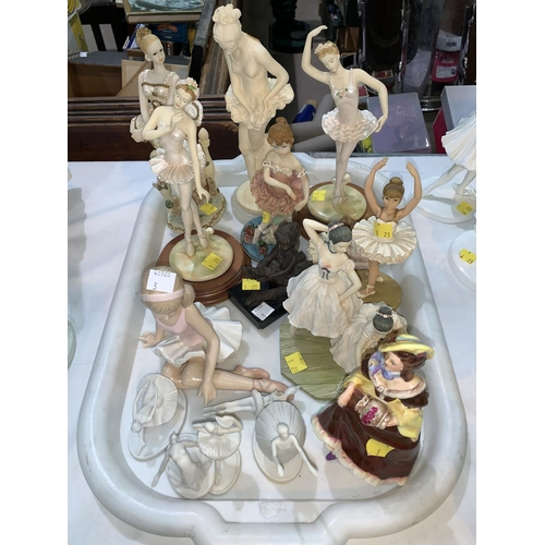 3 - A collection of resin & other ballerina figures; a Leonardo ballerina & a Coalport figure
