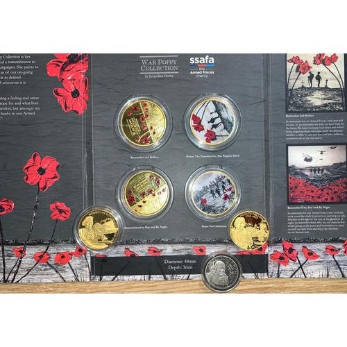 479 - War Poppy collection SSFA medal 5x4, Piedfort 2 dollar pieces, Churchill 2/6...