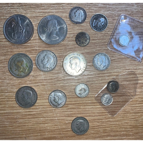 481 - A selection of GB coins: Crowns 1953, 1960, half crowns 1937-42, florins 1938-39, shillings 1834, 19...