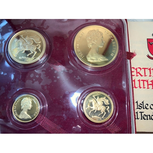 521A - A 1974 Isle of Man Legal Tender set of four gold coins half sovereign, sovereign, £2 and £5 coins in...