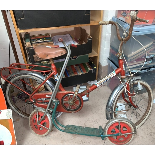 60 - A 1970's Valenti fold in bicycle (a.f.)a vintage child's scooter...