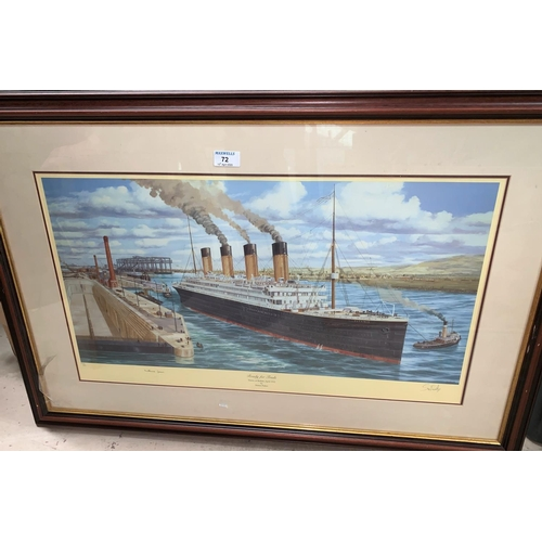 72 - Simon Fisher, 'Ready for Trials', signed limited edition print of The Titanic; a Helen Bradley print...