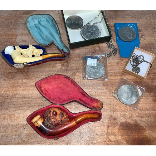 68A - A Meerschaum pipe, another pipe, modern commemorative coins etc...