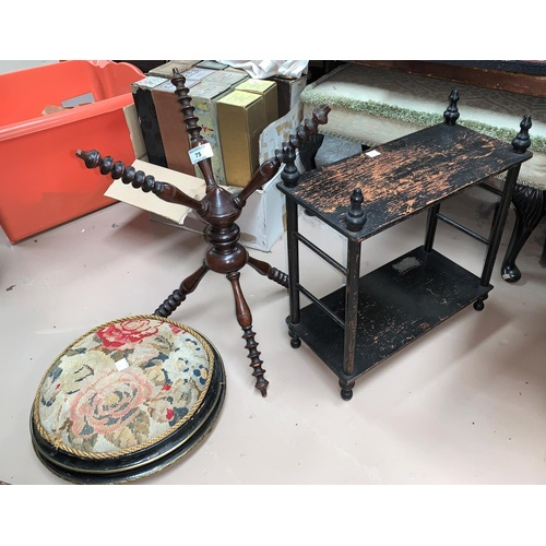 75 - A needlework covered Victorian footstool, a small 2 height wall shelf unit and a bobbin turned 3 cro...