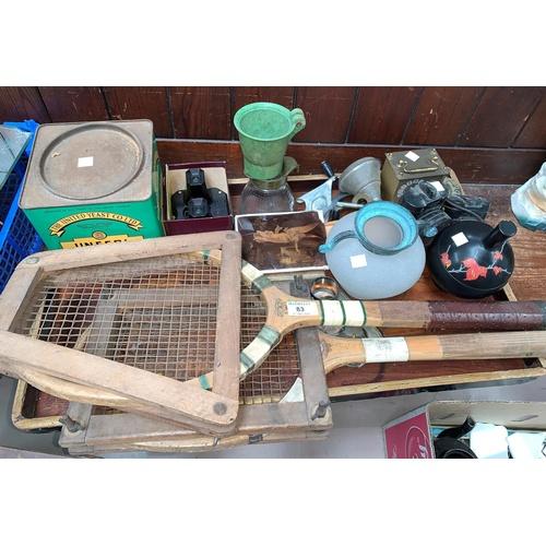 83 - 2 vintage tennis rackets, a vintage yeast tin and bric a brac...