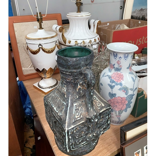 50 - Two large classical vase shaped table lamps; 3 vases; 2 reproduction relief plaques...