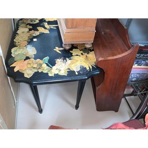 54 - A 2-door cigar humidor / wall cabinet; a small mahogany 3 height shelf unit; a scrapwork occasional ...