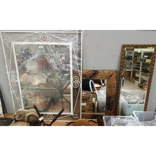 73 - A rectangular wall mirror in white wrought metal frame and 2 other wall mirrors...