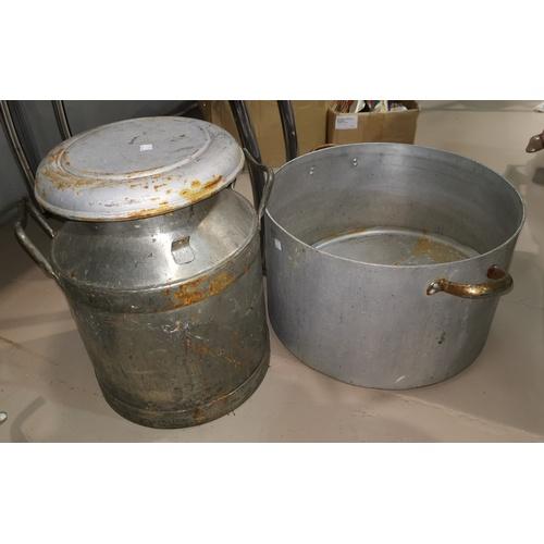 63A - A half size milk churn and a large aluminium boiler...
