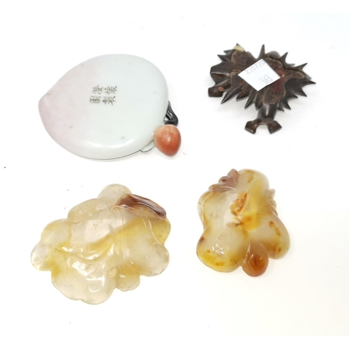 363 - Two Chinese carved hardstone brush washers and a ceramic similar brush washer with 4 character marks...