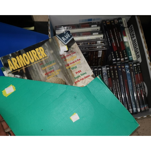 232 - A quantity of DVDs, WWII 3rd Reich material; a WWI Roll of Honour 1917 (copy); The Armourer Magazine...