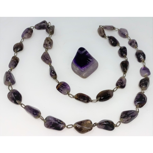 395 - A Blue John necklace on link chain and a similar necklace drop