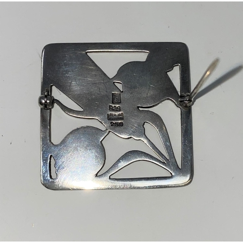 287 - A Georg Jensen Danish silver square brooch with 2 small birds and a stalk of barley between, stamped...