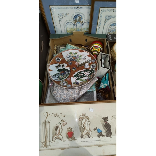 13 - A collection of oriental decorative items including 2 kimonos, pictures etc...