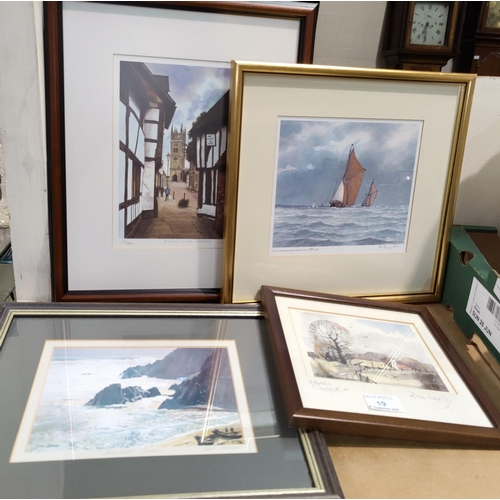 19 - A set of 4 pencil signed prints, various artists, 3 limited editions...