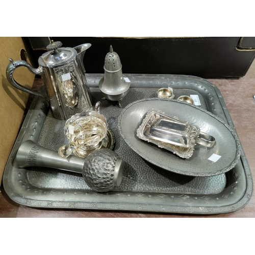 31 - An oval Tudric planished dish, a tray and other pewter; crystal goblets and other glassware etc...