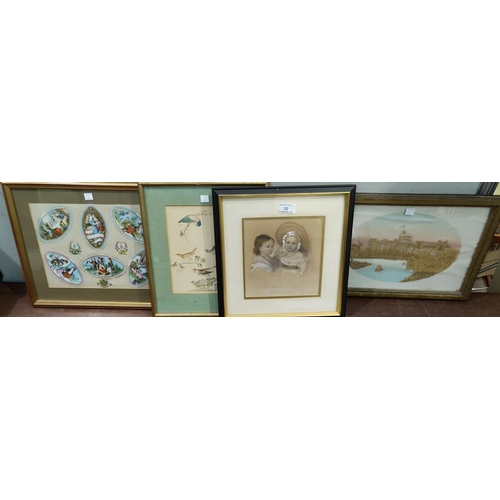 32 - A Victorian heightened print:  The Prince of Wales & Princess Royal; a Victorian 'scrap' picture; a ...
