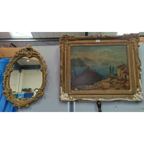 4 - J.J.Parkes, continental scene, oil on canvas signed and framed; a framed map and 3 mirrors...
