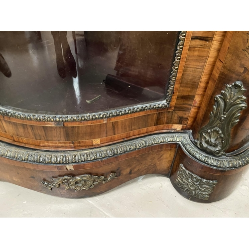 573 - A 19th century Louis XV style serpentine font walnut credenza with extensive ormolu mounts and marqu...