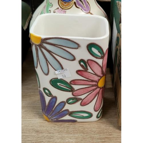 10 - A selection of cut glass; a Queen Anne part tea set; decorative pottery
