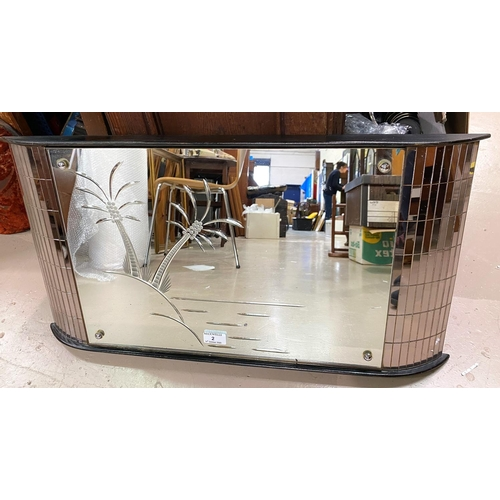 2 - A 1950's decorative curved wall mirror with central palm tree design and mosaic sides