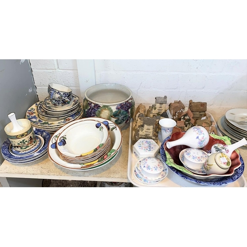 274 - A Continental porcelain group and a selection of decorative pottery etc. including David Winter cott...