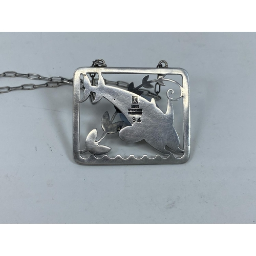 418 - A Georg Jensen sterling silver pendant necklace designed by Arno Malinowski, of rectangular form wit...