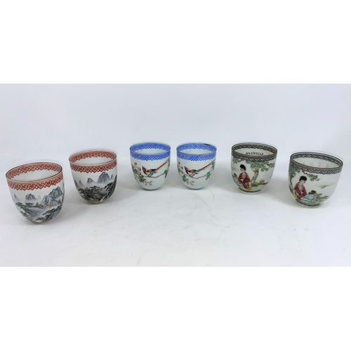271 - Three pairs of Chinese fine porcelain bowls with traditional scenes, height 6.5cm...