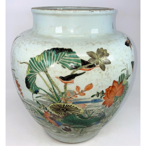 312 - A large Chinese famille vert vase decorated with birds, butterflies and insects etc, of rounded form...