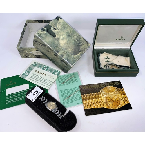 435 - A lady's stainless steel Rolex Oyster precision date wristwatch with original box, paperwork and out...