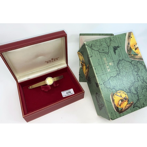 436 - An 18 carat gold Rolex dress watch fitted with factory set diamond to the bevel (26 in total) with w...