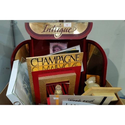 14 - A selection of shop perfume display stands & associated items