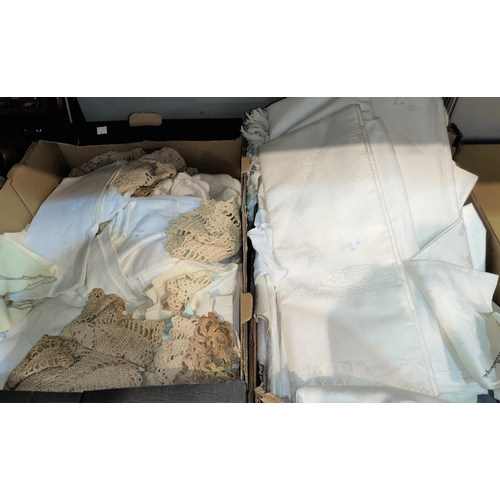 16 - A selection of Damask lace & other linen...