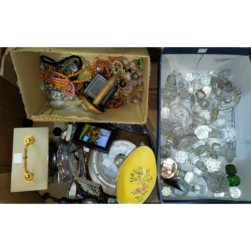 19 - A box of lace embroidery and other linen; a selection of glass decanters/stoppers; costume jewellery...