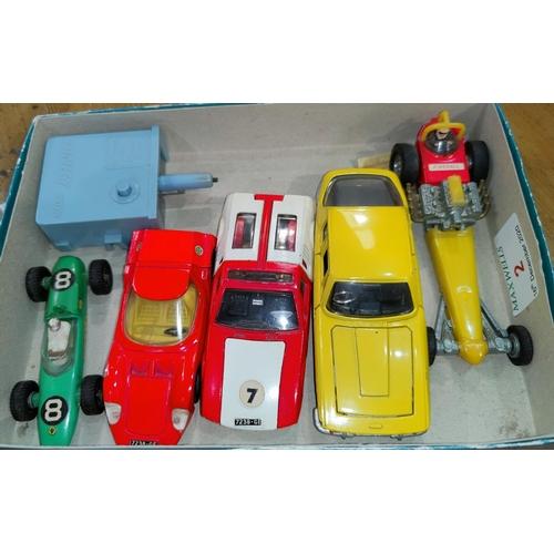 2 - 5 mid 20th century Dinky cars: red Alfa Romeo Osi Scarabeo; Green Lotus Racing car; red & cream 'De ...