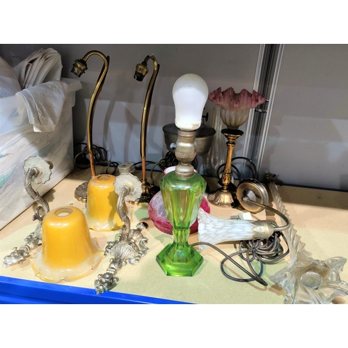 21 - A tall glass table lamp; other table lamps...