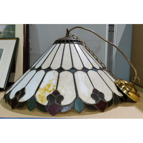 22 - A Tiffany style conical lampshade; a brass 3 branch centre light; a chandelier; etc....