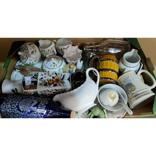33 - A selection of decorative china and glass; a selection of copper jelly moulds; vintage cake tins; et...